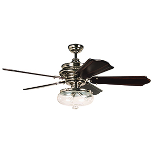 Townsend Polished Nickel Ceiling Fan with Light
