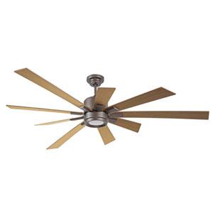 Katana Espresso Led 72-Inch Ceiling Fan Kit With Rustic Oak Blade
