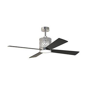 Marissa Brushed Polished Nickel Ceiling Fan with LED Light