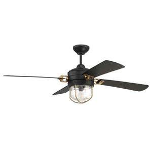 Nola Flat Black/Satin Brass Led 52-Inch Ceiling Fan