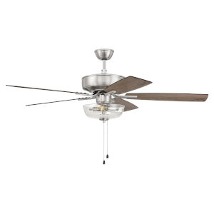 Pro Plus Brushed Polished Nickel 52-Inch Two-Light Ceiling Fan with Clear Glass Bowl Shade