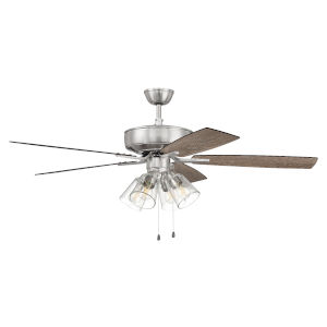 Pro Plus Brushed Polished Nickel 52-Inch Four-Light Ceiling Fan with Clear Glass Bell Shade