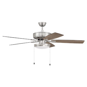 Pro Plus Brushed Polished Nickel 52-Inch LED Ceiling Fan with Frost Acrylic Pan Shade
