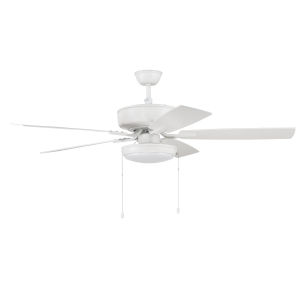 Pro Plus White 52-Inch LED Ceiling Fan with Frost Acrylic Pan Shade