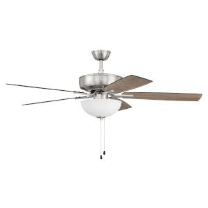Pro Plus Brushed Polished Nickel 52-Inch Two-Light Ceiling Fan with White Frost Bowl Shade