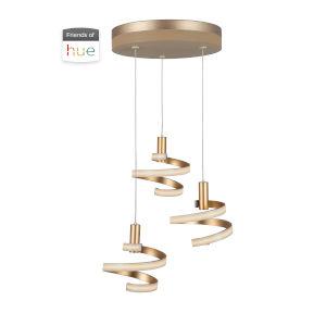 Matte Gold Three-Light LED 19-Inch Pendant