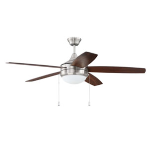Phaze 5 Brushed Polished Nickel Two-Light Led 52-Inch Ceiling Fan With Walnut Blade