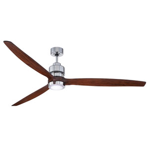 Sonnet Chrome Led 70-Inch Ceiling Fan Kit With Walnut Blade
