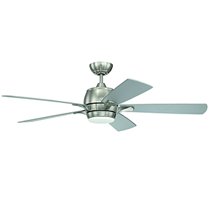 Stellar Brushed Polished Nickel Ceiling Fan with LED Light