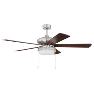 Stonegate Brushed Polished Nickel Two-Light Led 52-Inch Ceiling Fan