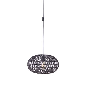 Swag Flat Black One-Light Pendant with Rattan Shade in Flat Black