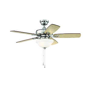 Twist N Click Brushed Polished Nickel 52-Inch Ceiling Fan with LED Light
