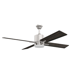 Teana Brushed Polished Nickel Ceiling Fan with LED Light