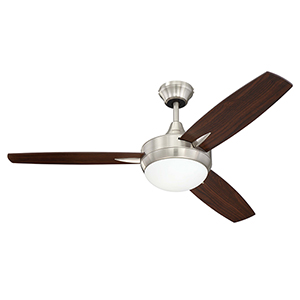 Brushed Polished Nickel 48-Inch Ceiling Fan with LED Light