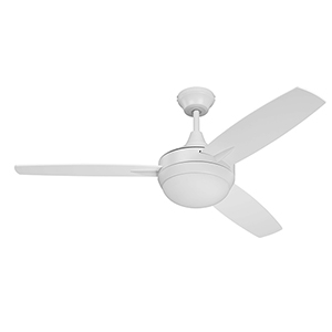 White 48-Inch Ceiling Fan with LED Light