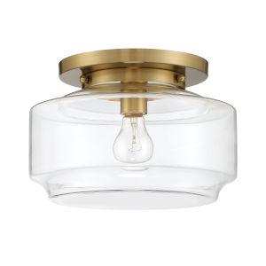 Peri Satin Brass 12-Inch One-Light Flushmount