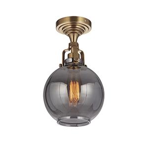 State House Vintage Brass Seven-Inch One-Light Semi Flush