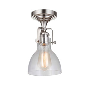 State House Polished Nickel 6-Inch One-Light Semi Flush