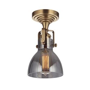 State House Vintage Brass Six-Inch One-Light Semi Flush