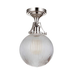 State House Polished Nickel 8-Inch One-Light Semi Flush