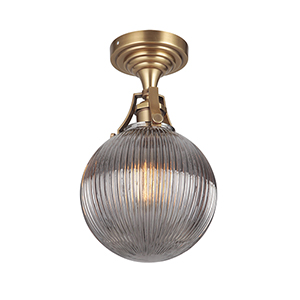 State House Vintage Brass One-Light Semi Flush