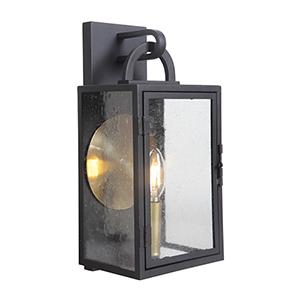 Wolford Textured Matte Black One-Light Outdoor Pocket Lantern
