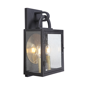 Wolford Textured Matte Black Two-Light Outdoor Pocket Lantern