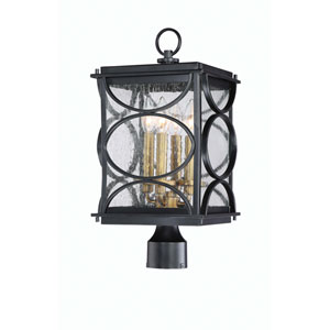 Hamilton Midnight and Patina Aged Brass Four-Light Outdoor Post Mount