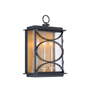 Hamilton Midnight and Patina Aged Brass Three-Light Outdoor Wall Sconce