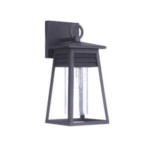 Becca Textured Matte Black Small One-Light Outdoor Lantern