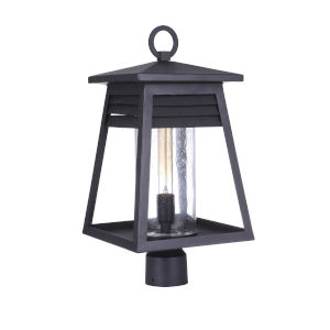 Becca Textured Matte Black Large One-Light Outdoor Post Mount