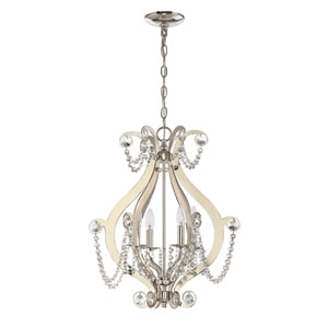 Polished Nickel Four-Light Chandelier