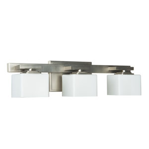 Encanto Brushed Nickel Three-Light Bath Fixture