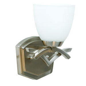 Viewpoint Brushed Nickel One-Light Bath Fixture with Cased Frost White Glass