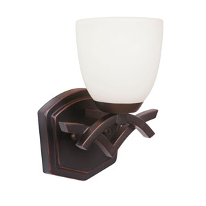 Viewpoint Oil Bronze Gilded One-Light Bath Sconce with White Frosted Glass Shade