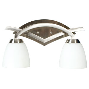 Viewpoint Brushed Nickel Two-Light Bath Fixture with Cased Frost White Glass