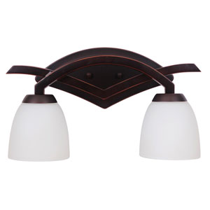 Viewpoint Oil Bronze Gilded Two-Light Vanity with White Frosted Glass Shade
