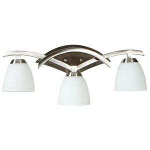 Viewpoint Brushed Nickel Three-Light Bath Fixture with Cased Frost White Glass