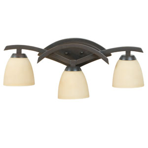 Viewpoint Oiled Bronze Gilded Three-Light Bath Fixture with Amber Frost Glass
