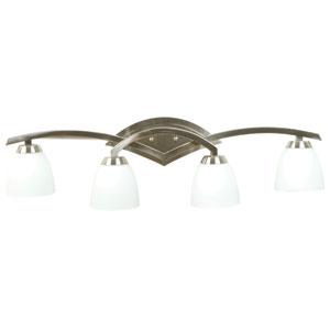 Viewpoint Brushed Nickel Four-Light Bath Fixture with Cased Frost White Glass