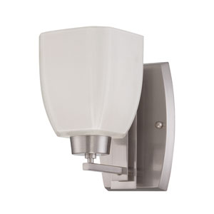Bridwell Brushed Satin Nickel One-Light Wall Sconce with Frosted White Glass Shade