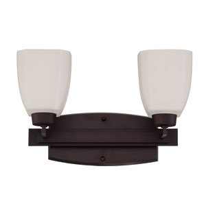 Bridwell Oiled Bronze Two-Light Vanity with Frosted White Glass Shade