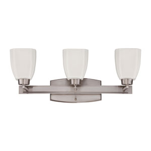 Bridwell Brushed Satin Nickel Three-Light Vanity with Frosted White Glass Shade