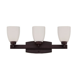 Bridwell Oiled Bronze Three-Light Vanity with Frosted White Glass Shade