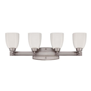 Bridwell Brushed Satin Nickel Four-Light Vanity with Frosted White Glass Shade