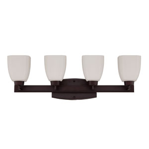Bridwell Oiled Bronze Four-Light Vanity with Frosted White Glass Shade