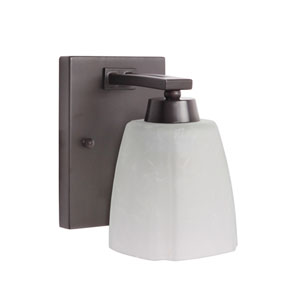 Sumner Oiled Bronze One-Light Bath Sconce with Veined Frosted Glass Shade
