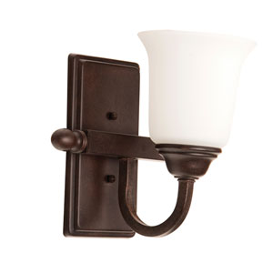 Madison Aged Bronze Textured One-Light Bath Sconce with White Frosted Glass Shade