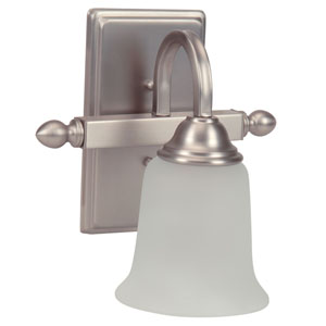 Madison Brushed Satin Nickel One-Light Bath Sconce with White Frosted Glass Shade