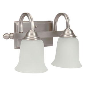 Madison Brushed Satin Nickel Two-Light Vanity with White Frosted Glass Shade